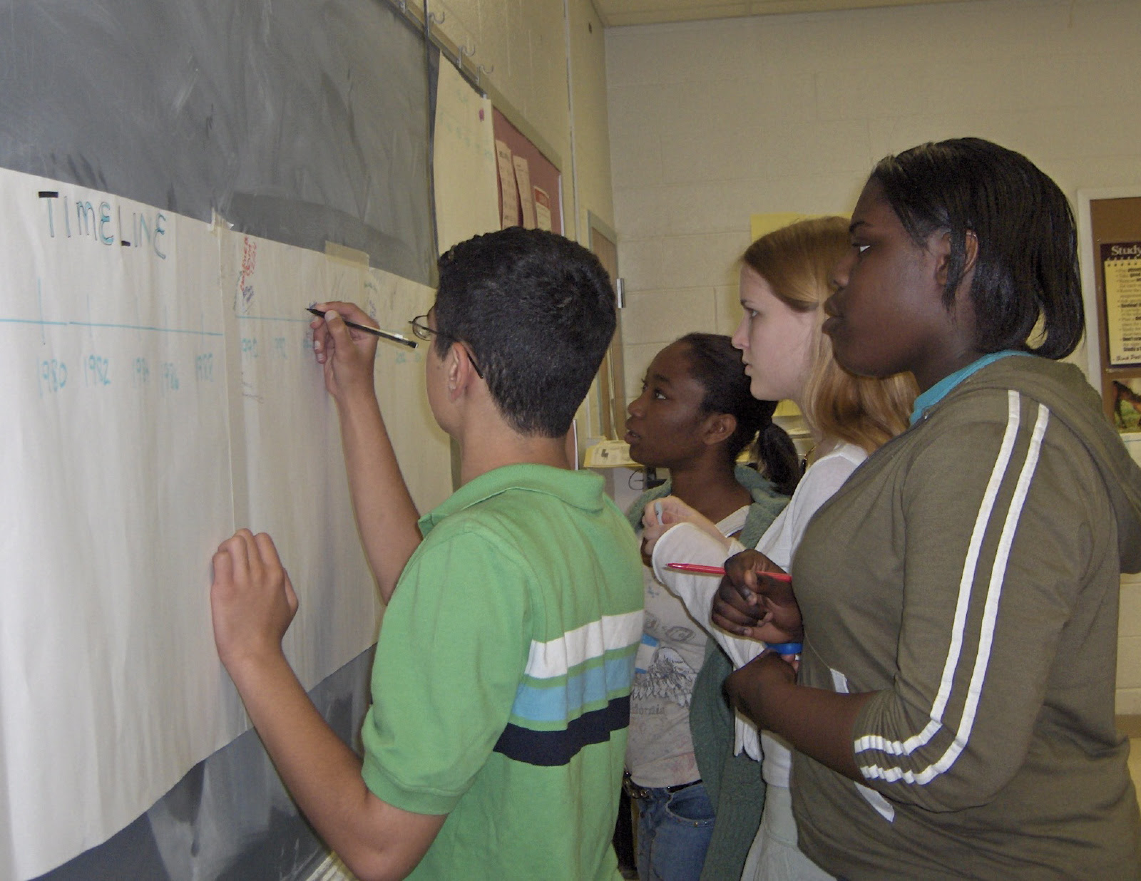 A group of students writing on a chalkboard