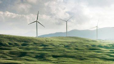 Wind Turbines on Green Hillside