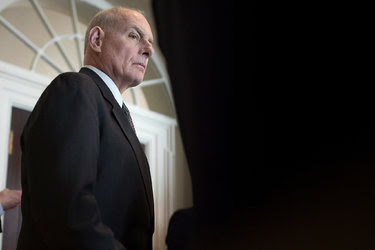 John Kelly, the White House chief of staff, observing a meeting between President Trump and members of Congress.
