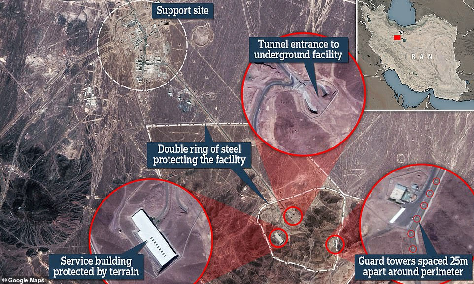 Fordow nuclear enrichment facility, located around 80 miles south of Tehran, surrounded by a double-ring of steel, guard towers and Russian-made S-300 missile systems