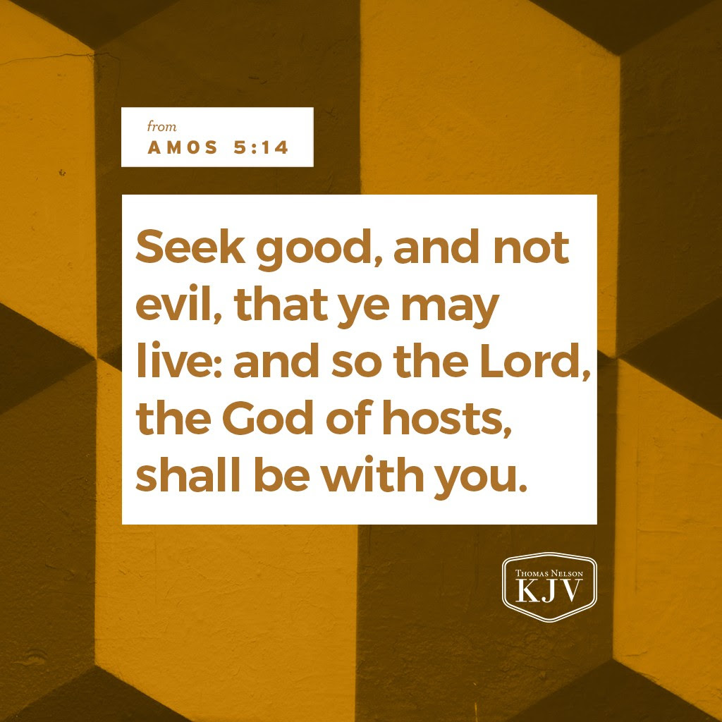 14 Seek good, and not evil, that ye may live: and so the Lord, the God of hosts, shall be with you, as ye have spoken. 15 Hate the evil, and love the good, and establish judgment in the gate: it may be that the Lord God of hosts will be gracious unto the remnant of Joseph. Amos 5:14-15