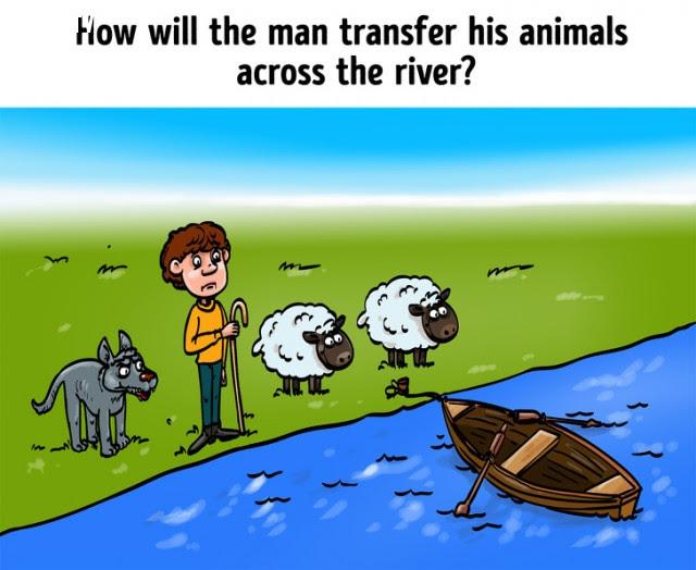 2. Làm cách nào người đàn ông đưa các con vật của mình qua sông?,câu đố,trắc nghiệm