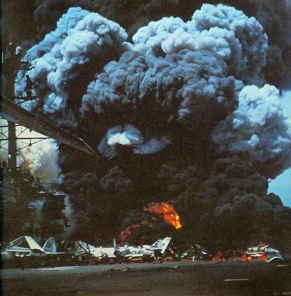 File:USS Forrestal fire 1 1967.jpg