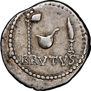 Q. Servilius Caepio (M. Junius) Brutus, as Imperator, assassin of Caesar (44-42 BC). AR denarius (19mm, 3.78 gm, 12h). NGC Choice VF 4/5 - 4/5