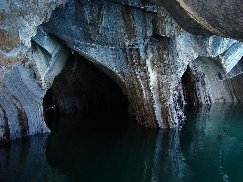geological formations on Chilean side of General Carrera Lake