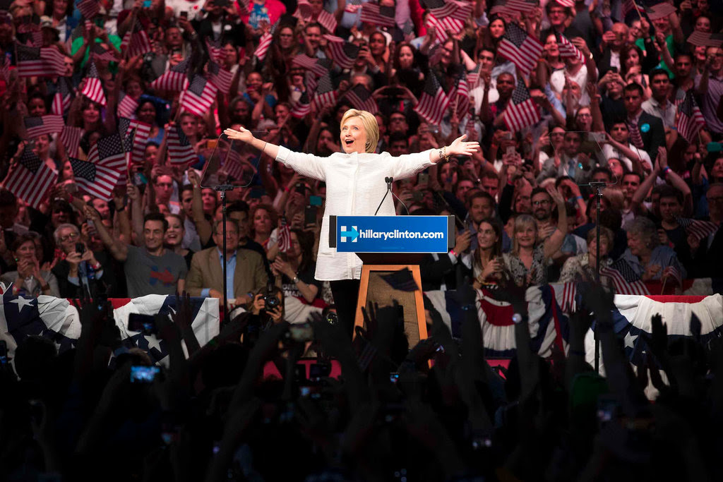 Hillary Clinton during her victory speech in Brooklyn on Tuesday night.