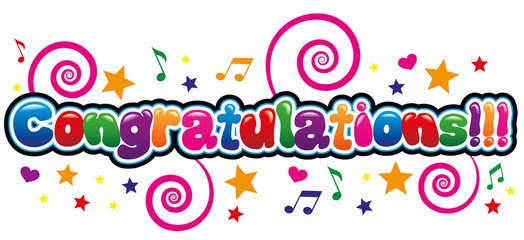 Congratulations colorful w music notes