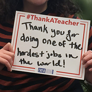 A thank you message for                                           teachers