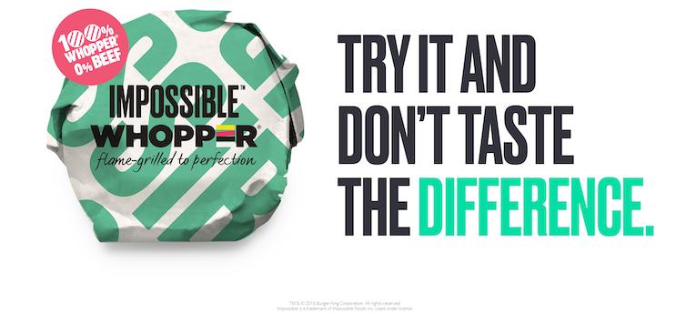 La Impossible Whopper, de Burger King. Imagen: Impossible Foods
