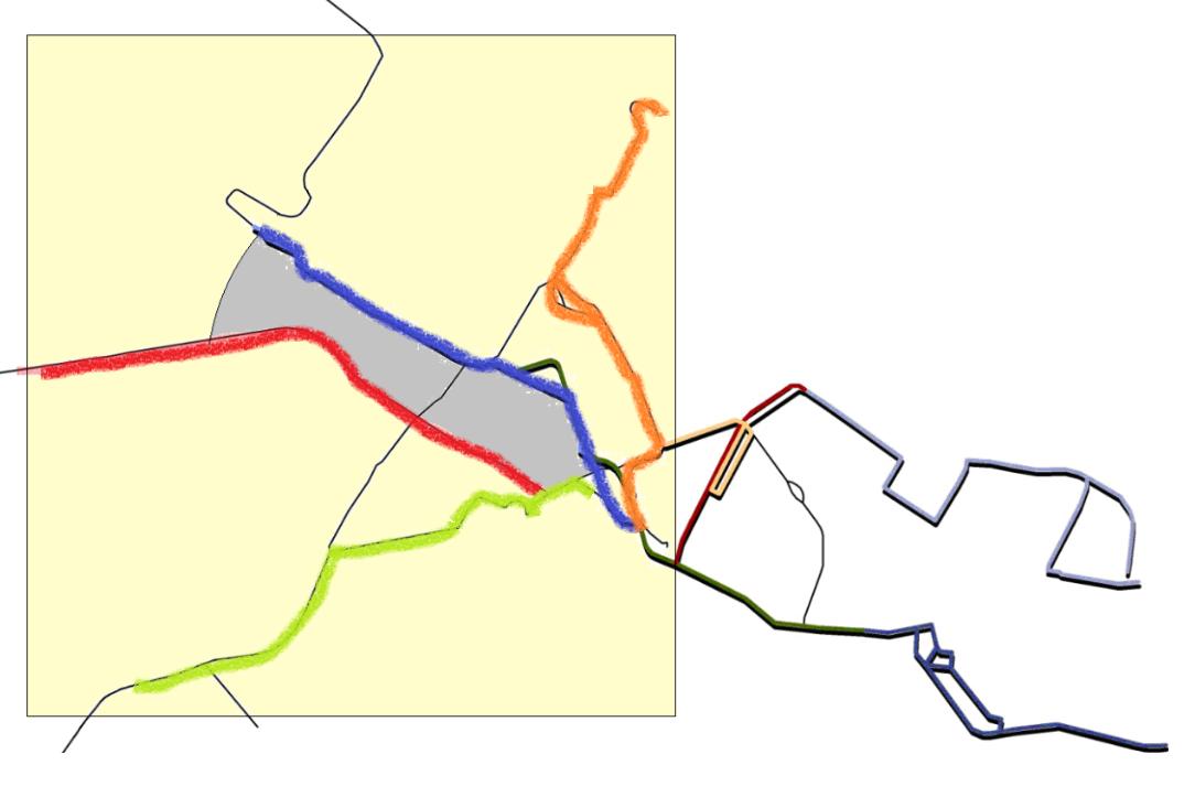 Schema della rete tranviaria fiorentina. Le tratte in funzione dal 2018 saranno la 2 (blu) e la 3 (arancio) che si aggiungeranno alla 1(verde) in esercizio dal 2010