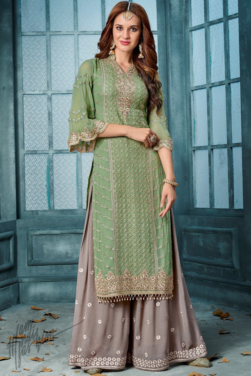 Green and Gray Georgette Party Wear Palazzo Suit