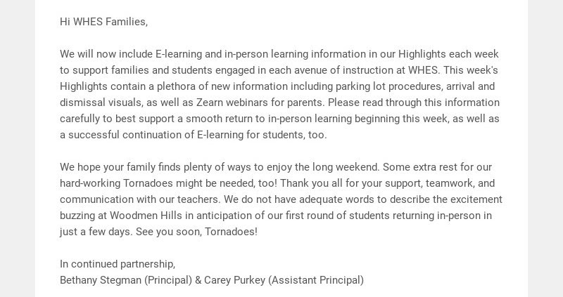 Hi WHES Families,