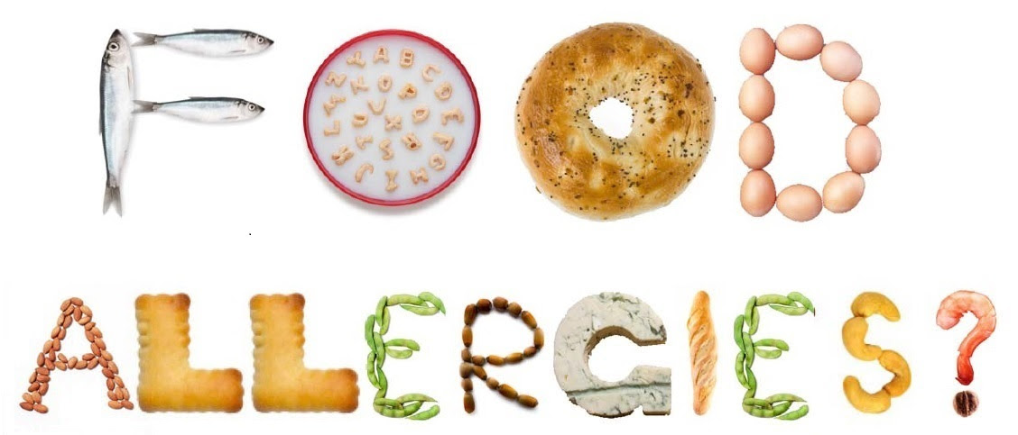 Images of allergy-related food arranged to spell