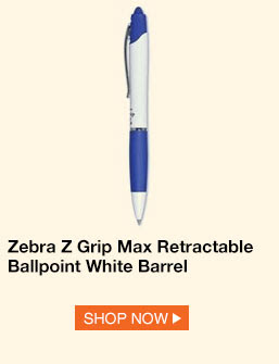 Zebra Z Grip Max Retractable Ballpoint White Barrel