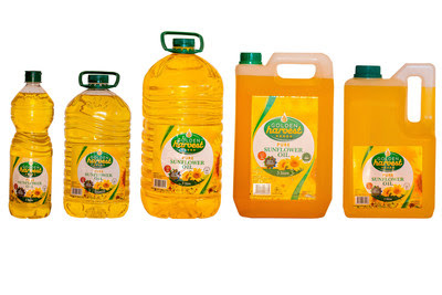 The brand's sunflower oil is available in three and five liter, high-density polyethylene (HDPE) jerrycans and one, three and five liter polyethylene terephthalate (PET) bottles.