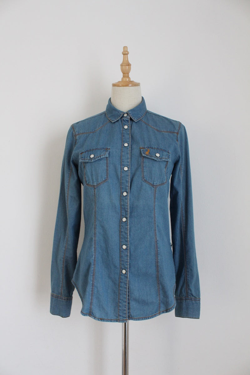 POLO JEANS CO BLUE DENIM SHIRT - SIZE 8