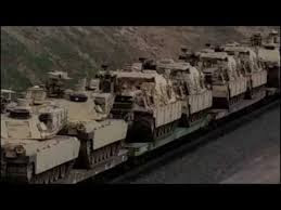 Military Convoy Crossing Into Oregon from Washington State, Tanks On Train (Video)
