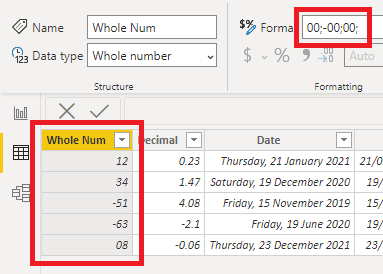 correct negative numbers