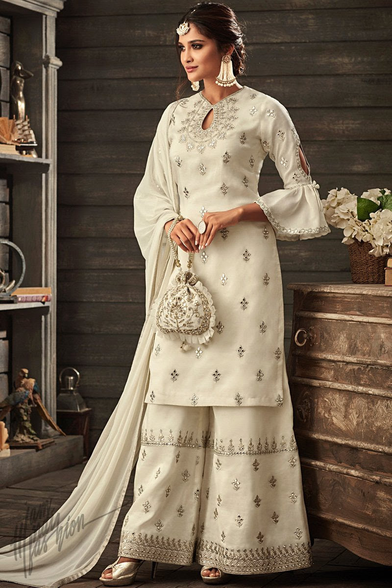 Ivory Georgette Party Wear Palazzo Suit