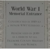 Fillmore County Fairgrounds WWI Memorial Entrance Plaque