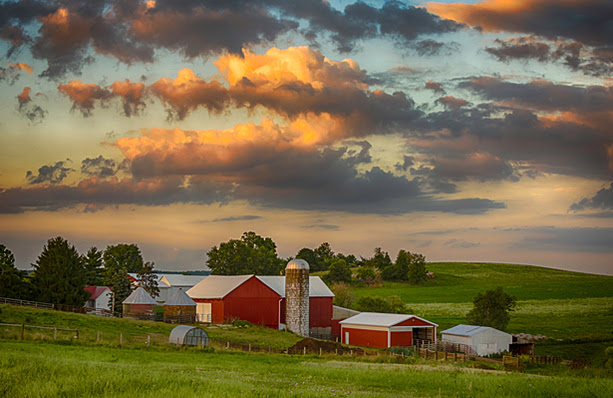 Farmland with beautiful clouds.