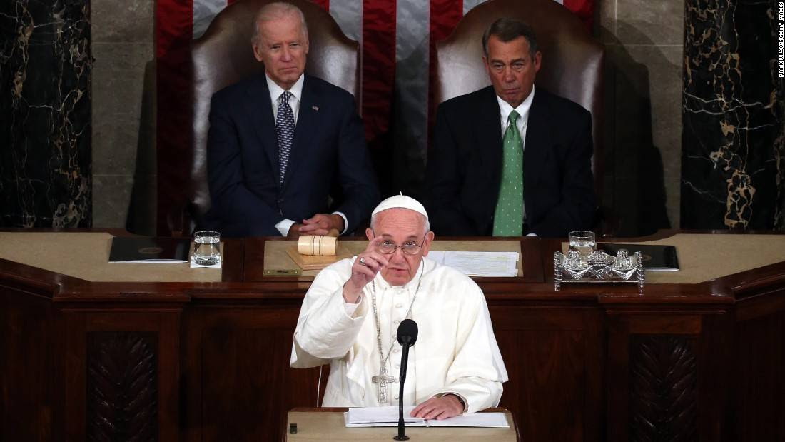 Pope Francis addresses a joint meeting of the U.S. Congress on September 24.
