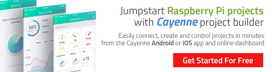Jumpstart Rasberry Pi Projects with Cayenne Project Builder