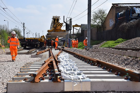 Work to install new track between Lea Bridge and the new Meridian Water station 80% complete