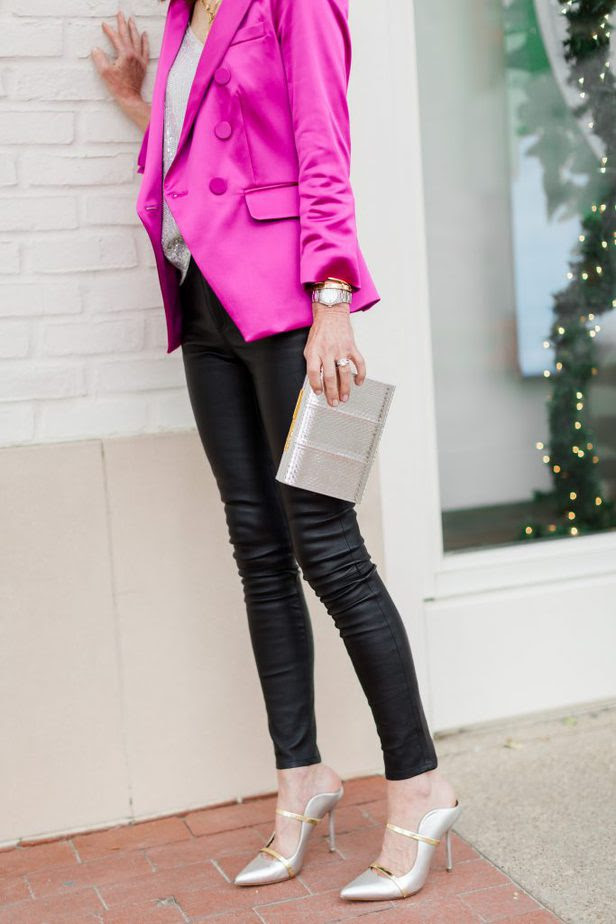 Pink Veronica Beard Blazer paired with sequin Avara tank