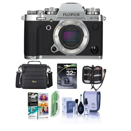 X-T3 Mirrorless Camera Body, Silver - Bundle With 32GB SDHC U3 Card, Camera Case, Cleaning