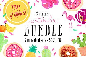 Summer Watercolor Bundle - 50% off