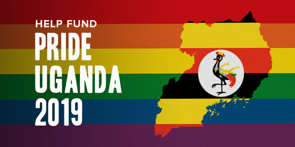 Image of rainbow flag. The text reads: Pride Uganda. CHIP IN