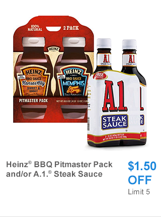 Heinz BBQ Pitmaster Pack and/or A.1. Steak Sauce