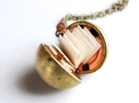 Vintage Brass Ball Locket With Paper For Personalized Messages. Various Chain Lengths