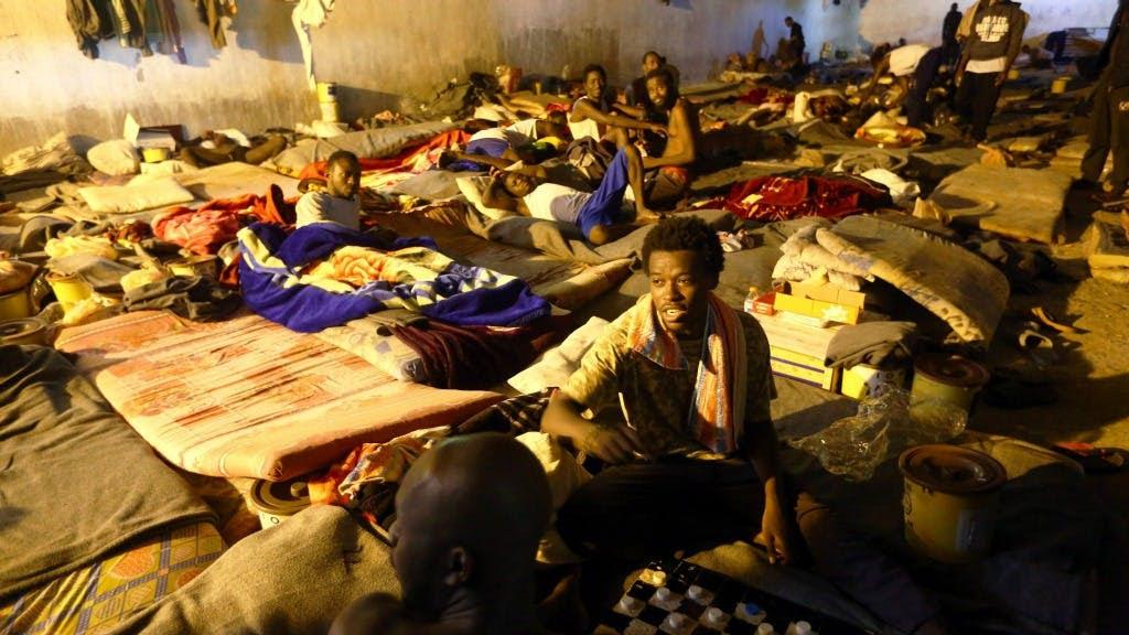 Opvang-/detentiecentrum voor migranten in de Libische hoofdstad Tripoli. Foto: ANP/AFP