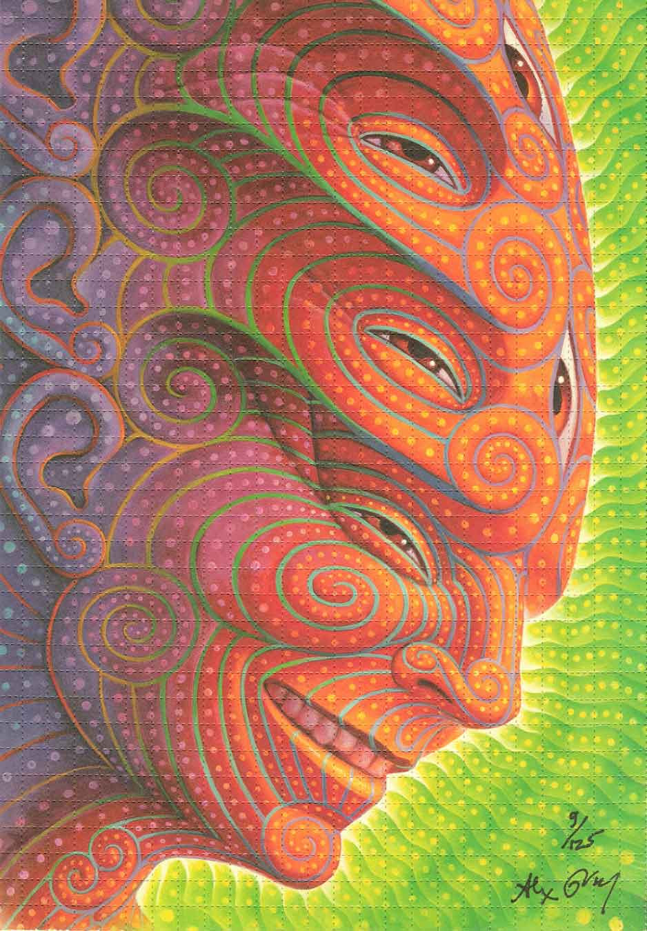 Alex Grey Signed, Numbered Shpongled Blotter Art