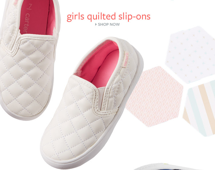 Girls quilted slip–ons. Shop Now