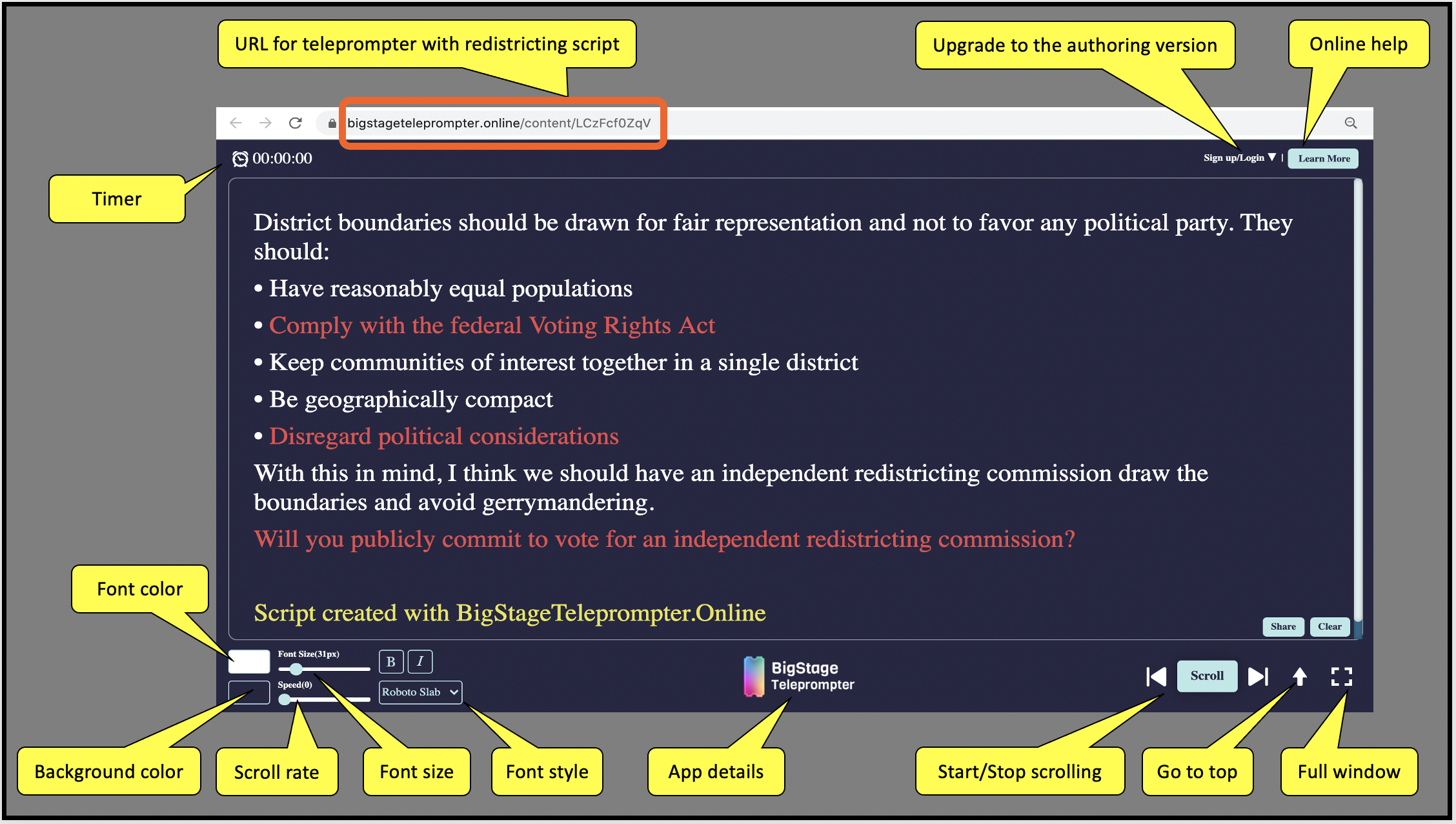 Talking points and questions for voters to ask about redistricting are loaded into the BigStage Teleprompter.