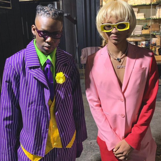 Nigerian singer Rema strikes a pose with Jaden Smith in US