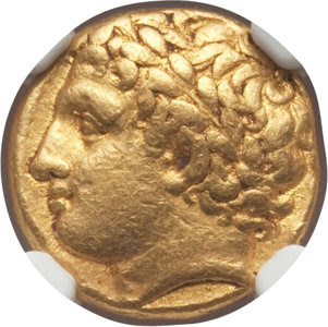 Ancients: SICILY. Syracuse. Agathocles (317-289 BC). AV hemistater or decadrachm (50 litrae) (16mm, 4.28 gm, 6h). NGC Choice VF 5/5 - 3/5, Fine Style