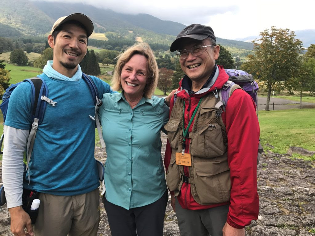 With shinrin-yoku (forest bathing) guides Akira and Kouriki in the Japanese Alps.