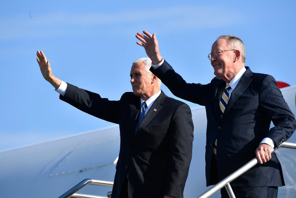 Senator Lamar Alexander, right, will hear many ideas for improving the Affordable Care Act this week, but action is likely to be limited. He was with Vice President Mike Pence in Tennessee last month.