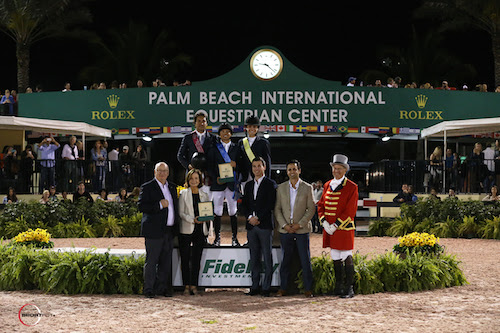 Luiz Francisco de Azevedo, Kent Farrington, and Catherine Tyree in their presentation with Equestrian Sport Productions President Michael Stone, owner Robin Parsky, Dustin Longest, Sports Marketing Associate, Rolex Watch USA, Peter Petrone, Vice President, Financial Consultant Fidelity Investments®, Boca Raton Investor Center, and ringmaster Steve Rector.