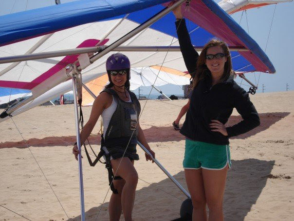 Fran teaching hang gliding