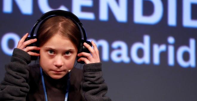 Greta Thunberg en una rueda de prensa en Madrid. REUTERS