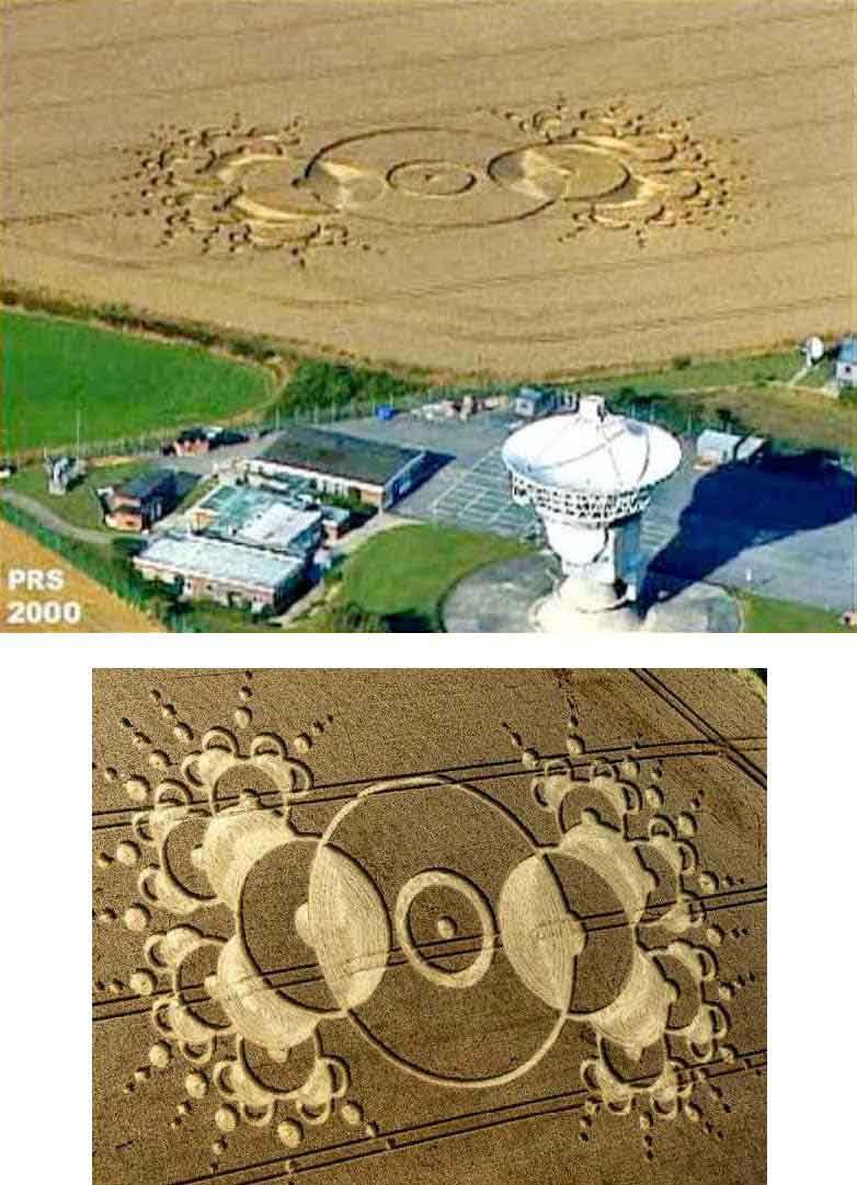 Segundo crop circle em Chilbolton - representa o telescópio alienígena.