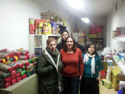 Voluntarios del banco de alimentos.
