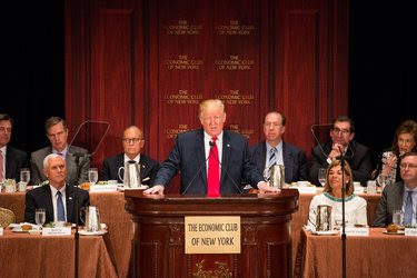 Donald J. Trump in New York Thursday. He made remarks about Mr. Obama to The Washington Post.