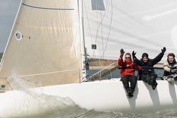 J/80 sailors having fun on Solent