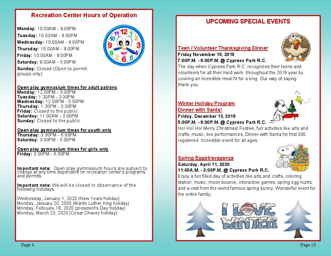 Cypress Pk Rec Ctr Winter Schedule Page 4